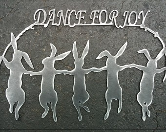Bunnies Dance For Joy Metal Art