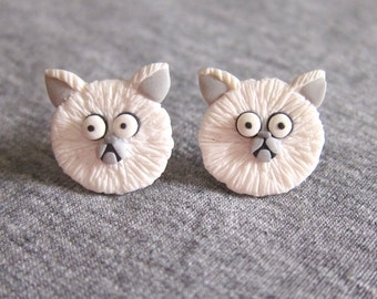 White Cat Earrings, Weird Girl and Mr. Whiskers Frankenweenie, Persian Cat, Funny Earrings, Polymer Clay Jewelry, Animal Jewelry, Cat Outfit