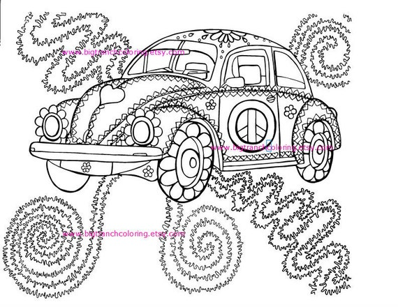 Adult Coloring Page Colouring Hippie Love Bug Volkswagen
