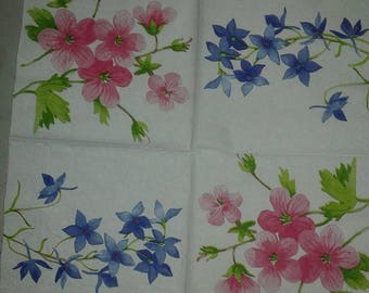 """Napkin pattern """"Blue and pink flowers"""""""