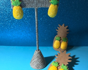 SALE // Pineapple Stud Earrings // Disney Dole Whip Inspired // Glitter Flocked Tiki Jewelry // Ready to Ship Gifts Under 5