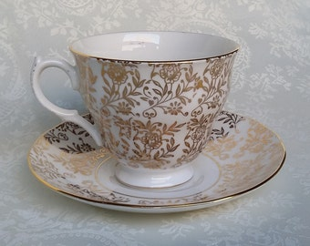Queen Anne Teacup, English Bone China Tea Cup and Saucer, Gold Chintz Tea Set, Antique Tea Cup, England
