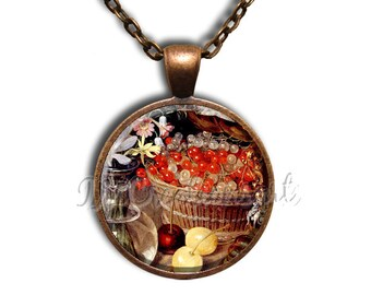 Fruit Cherries Glass Dome Pendant or with Chain Link Necklace BF129