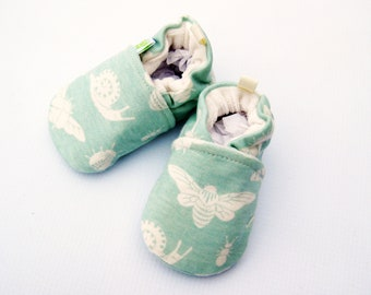 Organic Knits Mint Bugs / All Fabric Soft Sole Baby Shoes / Made to Order / Babies