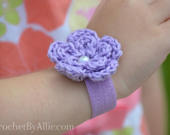 Lindsey Bracelet, girl's bracelet, foe, elastic, hair tie, Crochet by Allie