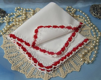 Crochet Handkerchief, Crochet Hanky, Crochet Hankie, Hand Crochet, Lace, Ladies, Custom, Personalized, Embroidered, Ready to ship
