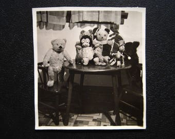 Stuffed Animal Family... 1940's Still Life Vintage Photo... Original Vintage Snapshot Photograph