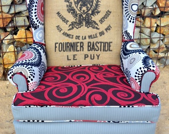 Custom French Twist on The Red Ones Vintage Upholstered Wingback Arm Accent Chair with Grain Sack