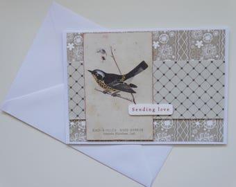Sending Love - Bird Themed A6 Card