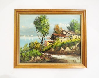 Italian Landscape Painting // Signed Oil on Canvas 1960's Painting // Vintage Home Decor