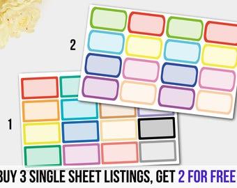 Rainbow half box stickers, Colorful Rectangle Half Box  Planner Stickers, Green Blue Red Half Box Stickers, Erin Condren Box Sticker,Planner