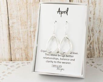 April Birthstone Silver Earrings, Large Crystal Silver Dangle Earrings, April Birthstone Jewelry, Silver Earrings, Bridal Earrings