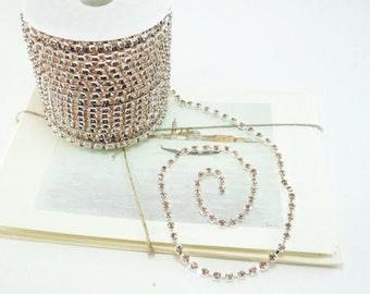 Silver Rhinestone Chain, Peach Crystal, (4mm / 1 Yard Qty)