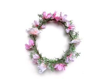 Sugaree flower crown with light pink blooms | bohemian flower crown | floral headpiece for weddings, bachelorette, music festivals