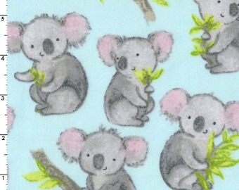 Koala Flannel Fabric, Koala Quilt Flannel, EE Schenck Snuggle Flannel 14346 Sweet Koala, Blue & Gray Baby Quilt Flannel, Cotton Yardage