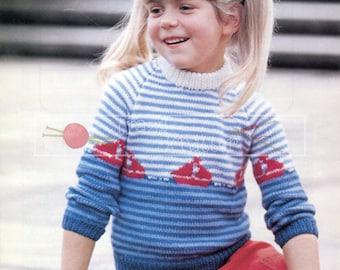 Child Sailing Motif Sweater 24-30in DK Patons 7024 Vintage Knitting Pattern PDF instant download