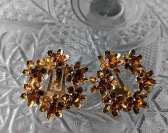 Coro Topaz Flower Wreath Earrings