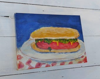 Hot Dog painting, 6x8 inch original by Shirley Lowe, kitchen art, restaurant art, comfort food, food art, American food, hot dog art, foodie