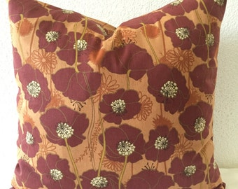 SALE**Single Pillow Cover 18x18 inch - Orange/Burgundy Floral Home Decor Fabric