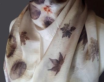 Botanical Print Silk Scarf, Natural Dye Ecoprint Scarf, Maple Leaves