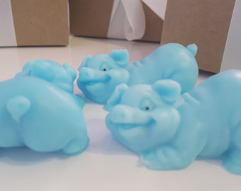 3 Pig Soap - hostess gift, stocking for her, blue pig soap, stocking stuffer for kids,  gift for teen