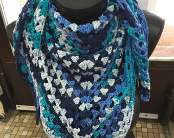 Blue and white crochet shawl