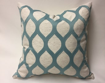 Sea Foam Green and Ivory Pillow Cover in Geometric Embroidered Diamond
