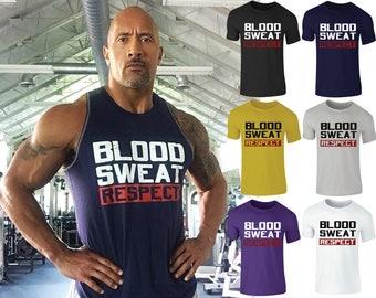 Men's Blood Sweat Respect Rock Armour Training Gym Wear Sport T-Shirt