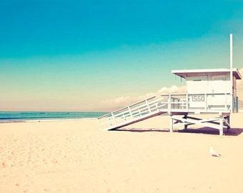 Beach photography, Blue, Lifeguard Hut, Beach Decor, Yellow, Turquoise, White, Malibu Beach, California Print