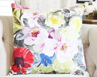 Designers Guild Orangerie Rose Pillow - Designer Pillow Cover - Red Pink Yellow Green & Blue Pillow Cover - Blush Pink Pillow- Motif Pillow