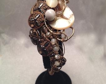 Antique | Vintage Button Bracelet Wire Sculpted in Bronze by Nonpareil Ltd. #SILVC-B-1