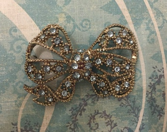 Vintage Silver Bow Brooch With Light Blue Crystals