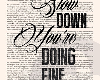 Vienna Book Page - Billy Joel Lyrics Typography Print