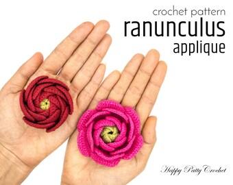 Crochet Flower Applique Pattern - Crochet Ranunculus Pattern - Crochet Applique Pattern