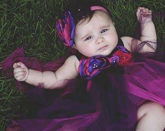 Beautiful Plum and Fuschia Satin Shabby Chic Flower Tutu Dress for Baby Girl First Birthday 6-18 Months