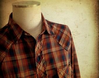 FINAL SALE --- Vintage 1970s Plaid Western Wear Pearl Snap Shirt, Roebucks (L)
