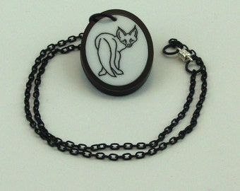 Spiritmouse stylized curious fox pendant necklace lazer cut acrylic  White and Black Fox oval