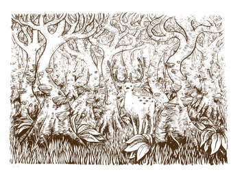 Deer in a Forest with eyes screen print chocolate brown
