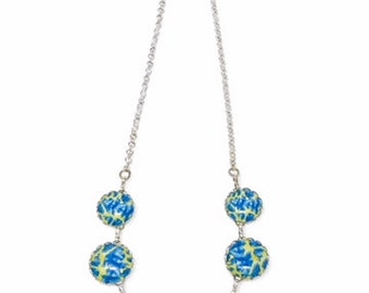 Necklace, blue and green necklace