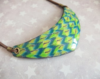 "Bib necklace ""dream feather"" polymer clay / feathers necklace"