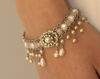 Bridal Bracelet Pearls Wedding Bracelet Rhinestone Vintage Style Bride Bracelet Victorian Jewelry Wedding Jewelry Crystals Bracelet 1920s