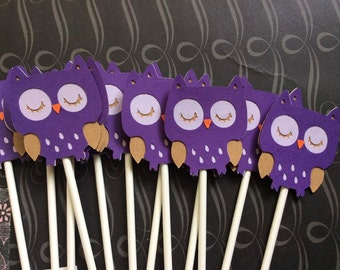 12 Detailed Shades of Purple Owls Cupcake toppers