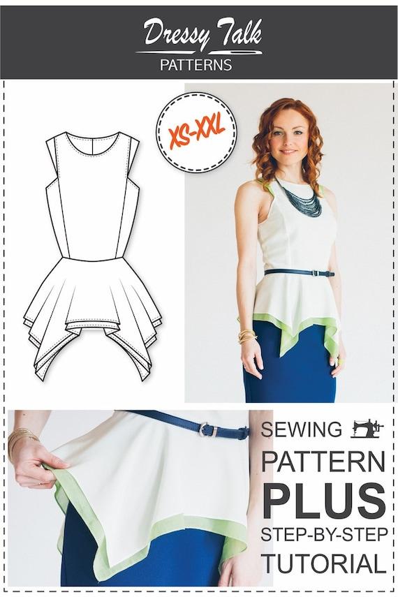 Peplum Top Pattern PDF Sewing Pattern