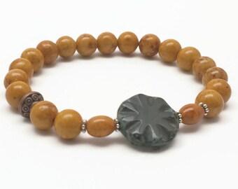 Beaded Bracelet, Brown Bracelet, Riverstone Bracelet, Riverstone Jewelry, Picasso Bead, Boho Jewelry, Stacking Bracelets, Gift for Her