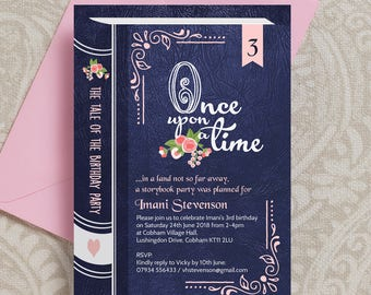 Personalised Once Upon a Time Storybook / Fairytale Kids Birthday Party Invitation and Envelopes