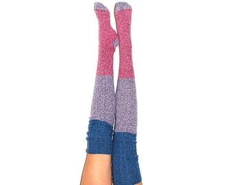 Thigh High Socks, Stripe Sweater Socks, Women's Long Over the Knee Socks, Knitted Boot Socks, OTK Thigh Highs, Stockings, PM-088DDRS
