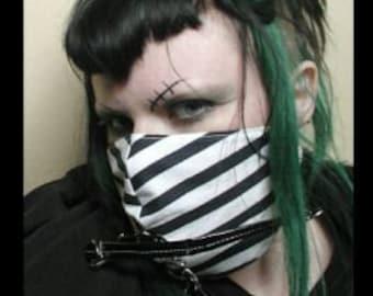 Black Orchid Designs Psycho Stripe Bondage Strap Carnival Mask