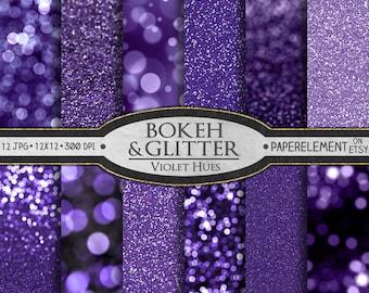 Purple Glitter Paper: Violet Glitter Printables, Purple Printable Bokeh, Purple Bokeh Digital Download, Violet Bokeh Digital Photo Backdrop