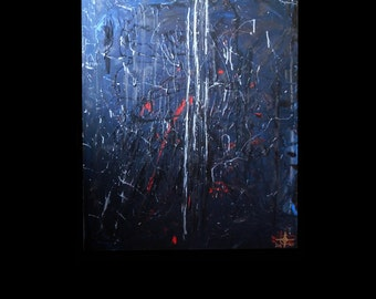 Adaralia Nocturna - essence : large dark blue and acrylic paint, with handmade silver ink, energy abstract art