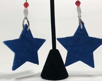 Blue leather earrings, 4th of July, star earrings, leather earrings, patriotic earrings, blue earrings, dangle earrings, beaded earrings